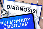 Form with diagnosis and tablet with Pulmonary embolism — Stock Photo