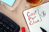 Notepad with words CPC cost per click   concept. — Stock Photo