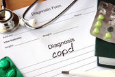 Diagnostic form with Diagnosis Chronic obstructive pulmonary disease (COPD). — Stock Photo