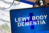 Diagnostic form with diagnosis Lewy body dementia and pills. — Stock Photo