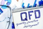 Notepad with  QFD - Quality Function Deployment  on office wooden table. — Stock Photo