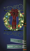 Christmas wreath on lamp post — Stock Vector
