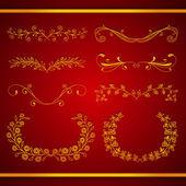 Set of elegant calligraphic foliate golden borders — Stok Vektör