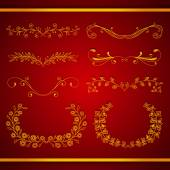 Set of elegant calligraphic foliate golden borders — Stock Vector