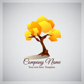 Company business logo with geometric yellow tree — Stock Vector