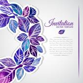 Elegant invitation template with watercolor wreath — Stock Vector