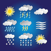 Set of weather funny icons with shadows — Stock Vector