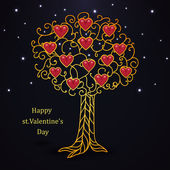 Gold forged valentines day tree with hearts — Vetor de Stock