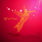 Gold lace colibri flying for dream — Stock Vector