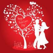 Greating Valentines Karte mit tanzenden Paar — Stockvektor