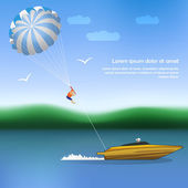 Summer parachuting over river with boat. — Stock Vector