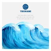 Watercolor ocean tsunami waves — Stock Vector