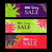 Spring sale banners with nature lace flowers — Stockvector