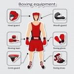 Sport equipment for boxing martial arts — Stock Vector #64625539