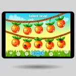 Постер, плакат: Game level selection fruit ui screen