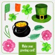 St.patrick day set for greeting card with hat, coins and clover — Stock Vector #65349175