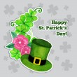 St.patrick day greeting card with hat, flowers and clover — Stock Vector #65420843