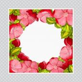 Greeting card with watercolor frame of pink peony — 图库矢量图片