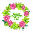 St.patrick day greeting card with flowers and clover — Stock Vector #65673117