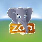 Grey elephant holding zoo plate — 图库矢量图片