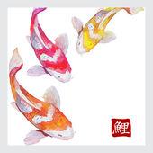 Japanese watercolor carps koi swimming. Calligraphic simbol. — Cтоковый вектор