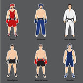 Set of different fighters in sports equipment — Stock Vector