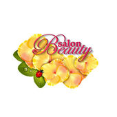 Beauty salon identity naturalistic hydrangea flower with leaves, and ladybug — Stock Vector