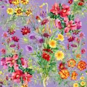 Wild flowers seamless pattern — Stock Photo