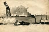 Seaport sketch — Stock Photo
