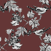 Birds on twig seamless pattern — Stock Photo