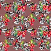 Birds on twig seamless pattern — Stock Photo
