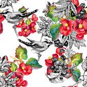 птицы на ветке бесшовный образец — Стоковое фото