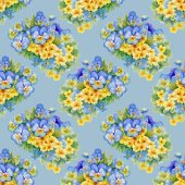 Pattern with pansy  and  forget-me-flowers — Stock Photo