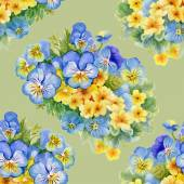 Pattern with pansy  and  forget-me-flowers — Stok fotoğraf