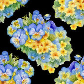 Pattern with pansy  and  forget-me-flowers — Foto Stock