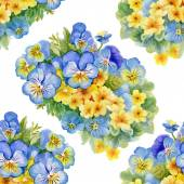 Pattern with pansy  and  forget-me-flowers — Stockfoto