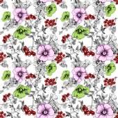 Pattern with petunias and branches — Stock Photo