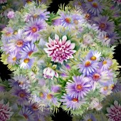 Purple chrysanthemums and  daisies pattern — Stock Photo