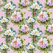 Chrysanthemums and magnolias  pattern — Stock Photo