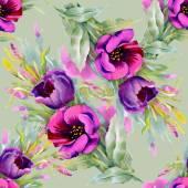 水彩の紫花のシームレス パターン — ストック写真