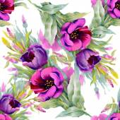 Watercolor purple  flowers seamless pattern — Stock Photo