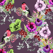 Exotic birds on flowers twig seamless pattern — Stock Photo