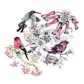 Vogels op tak met bloemen — Stockfoto