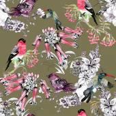 Ptáci na větvi s květinami — Stock fotografie