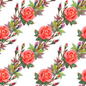 Watercolor pink roses seamless pattern — Stock Photo