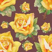 Watercolor yellow roses seamless pattern — Foto de Stock