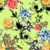 бесшовный узор из цветов и бабочек — Стоковое фото