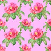Watercolor pink flower seamless pattern — Stock Photo