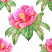 Watercolor pink flower seamless pattern — Stock Photo
