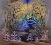 Watercolor winter landscape — Stock Photo